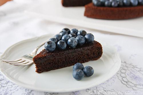 Chocolade bosbessen cake (guilt free)
